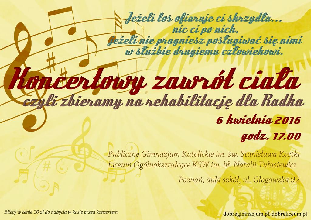 plakat  KONCERTOWY ZAWRÓT CIAŁA –  czyli zbieramy na rehabilitację dla Radka!
