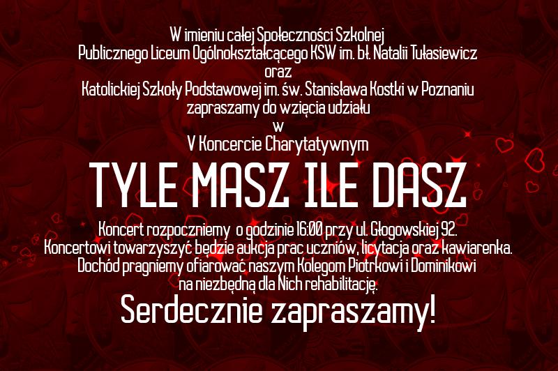 Zaproszenie tył V Koncert Charytatywny