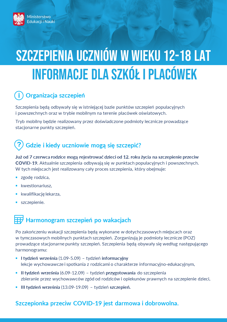 Szczepienia uczniow w wieku 12 18 lat – informacje dla szkol i placowek – plakat  Szczepienia uczniów w wieku 12 18 lat